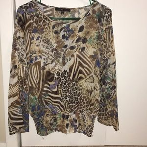 Cheetah and flower print shirt. Size M.